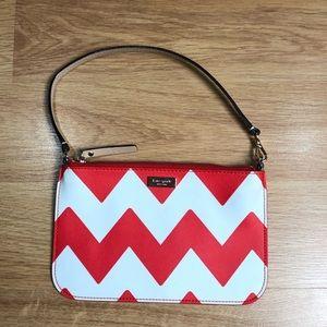 KATE SPADE orange chevron wristlet wallet purse